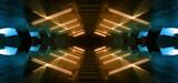 Fototapeta Do przedpokoju - Sci Fi Futuristic Neon Glowing Orange Blue Tunnel Parking Garage Cement Asphalt Concrete Underground Industrial Showroom Hangar Warehouse Spaceship 3D Rendering