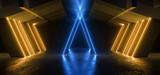 Fototapeta Do przedpokoju - Sci Fi Futuristic Neon Glowing Blue Orange Triangle Tunnel Parking Garage Cement Asphalt Concrete Underground Industrial Showroom Hangar Warehouse Spaceship 3D Rendering