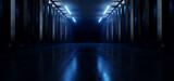 Fototapeta Do przedpokoju - Dark Hallway Columns Parking Concrete Cement Stone Pillars Corridor Hall Tunnel Underground Sci Fi Futuristic  Neon Circle Blue Led Lights Spaceship 3D Rendering