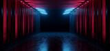 Fototapeta Do przedpokoju - Dark Hallway Columns Parking Concrete Cement Stone Pillars Corridor Hall Tunnel Underground Sci Fi Futuristic  Neon Circle Red Blue Led Lights Spaceship 3D Rendering