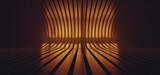 Fototapeta Do przedpokoju - Dark Sci Fi Futuristic Striped Metal Glossy Studio Orange Neon Fluorescent Glowing Hangar Studio Spaceship Stage Product Cyber Background 3D Rendering