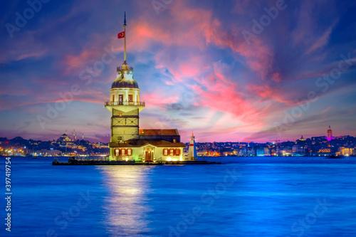 Fotografie, Obraz Maiden's Tower in istanbul, Turkey (KIZ KULESI - USKUDAR)