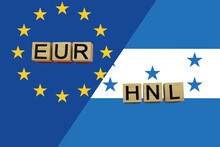 United Europe And Honduras Currencies Codes On National Flags Background