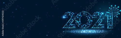 Fototapeta Happy new year 2021 banner design. 2021 Happy new year greeting horizontal poster. Geometric futuristic polygonal 2021 new year greeting card. Vector firecracker background. Low polygon. obraz
