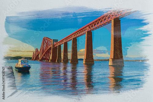 Fotografie, Obraz Watercolor painting of Forth Road bridge in Edinburgh