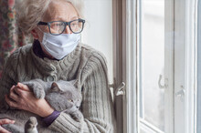 Elderly Woman In Protective Mask Holding A Cat Looks Out The Window Wearing. Christmas Quarantine Covid19. Coronavirus Epidemic. Waiting. Depression. Insulation At Home. Pets Save You From Loneliness
