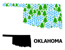 Vector Mosaic Map Of Oklahoma State Done For New Year, Christmas, And Winter. Mosaic Map Of Oklahoma State Is Done From Snow Flakes And Fir Trees.