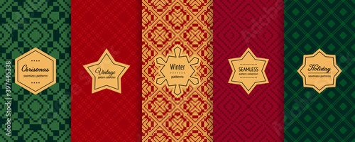 Fototapeta Christmas vector seamless patterns collection. Set of holiday background swatches with elegant labels. Winter Nordic Scandinavian style abstract ornament. Design for decor, print, card, flyer, banner obraz