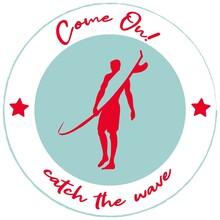 Illustration, Ventage Retro Card Sticker Stamp Surfing Man, Catch The Wave, Man With Surfboard