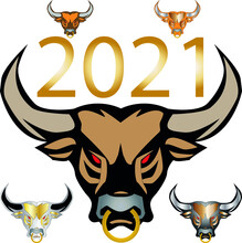 Five Bulls With Red Eyes And A Gold Nose Ring With An Inscription Between The Horns 2021.2021 Is The Year Of The Bull