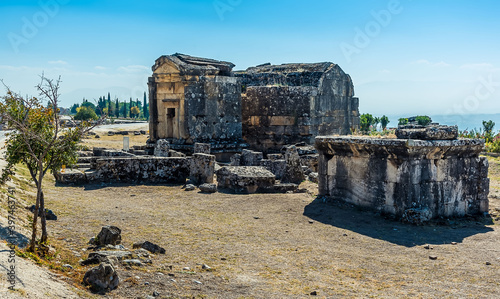 Fotografie, Tablou A Roman burial chamber in Hierapolis above Pamukkale, Turkey