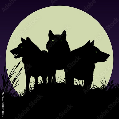 Canvas Print Black silhouettes of wolves on the background of the moon