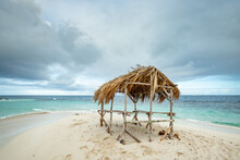 Wooden Gazebo With Palm Tree Leaves Roof On The White Sand Of The Paradise Beach In Atlantic Ocean, Cayo Arena, Punta Rucia, Dominican Republic