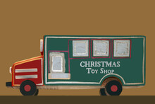 Rustic Wooden Toy - Christmas Ornament - Square Panel Truck With Christmas Toy Shop Painted On The Side - Very Rustic- Isolated.
