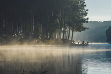 Pang Oung, Mae Hong Son, Thailand. Beautiful Nature In The Morning With Sunrise And Fog, Travel In The North Of Thailand, Popular Camping Place In Thailand