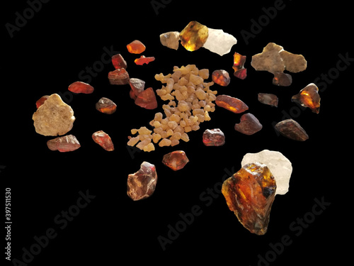 Canvas Print Frankincense, myrrh, amber chunks from the Middle East
