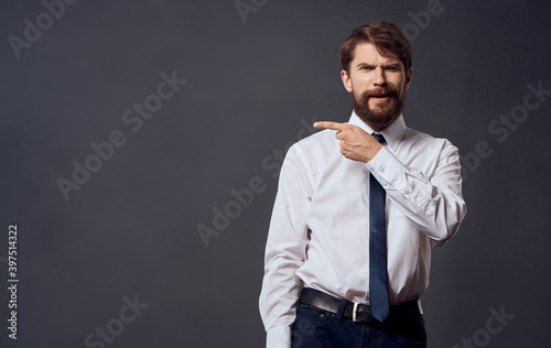 Fototapeta Bearded man in shirt with tie emotions manager official Professional