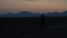 Cowboy Raises His Horse On Two Legs. Rear Up Horse, Curvet Horse