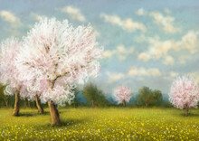 Oil Digital Paintings Landscape.Tree In Spring, Blossom In Spring