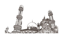 Building View With Landmark Of Bandar Seri Begawan Is The Capital Of Brunei. Hand Drawn Sketch Illustration In Vector.