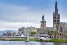 Inverness Cityscape, With A Bridge Over The River Ness.