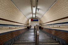Empty Stairs With Blured Background In A Subway Tube Station In London