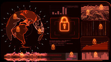 Red Monitor Digital Global World Map And Technology Research Analysis To Protect Ransomware Encryption