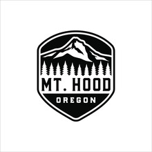 Mount Hood In A Badge With A Retro Design
