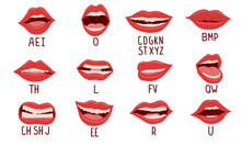 Mouth Animation. Alphabet Pronunciation, Lip Position While Talking. Woman Facial Expression, White Teeth And Tongue. Cartoon Parts Of Face And Latin Or English Letters. Vector Speech Therapy Set