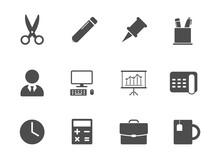 Office Glyph Vector Icons Isolated On White. Office Icon Set For Web, Mobile Apps, Ui Design And Print