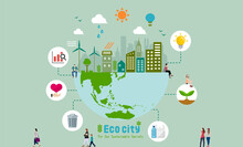 Ecology Life, Eco City Vector Banner Illustration ( Ecology Concept , Nature Conservation )