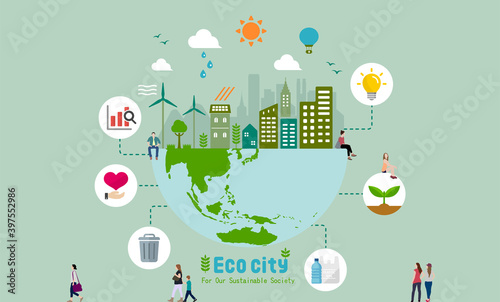Canvas Print Ecology life, eco city vector banner illustration ( ecology concept , nature con