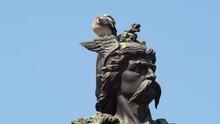 Static Slomo Shot Of Pigeon Perched On Head Of Ambiorix Statue, Tongeren
