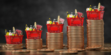Growth Of Food Sales Or Growth Of Market Basket Or Consumer Price Index Concept. Shopping Basket With Foods On Coin Stacks.