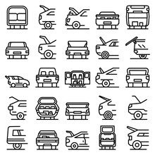Trunk Car Icons Set. Outline Set Of Trunk Car Vector Icons For Web Design Isolated On White Background