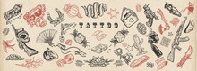 Tattoo Elements Collection. Big Set For Design. Old School Flash Tattooing Style, Vector Graphic Art