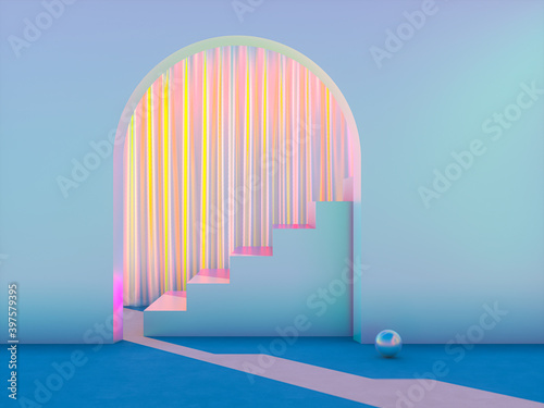 Fototapeta Winter Christmas scene with a podium backdrop for product display. 3d render. obraz