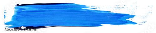 Acrylic stain blue smear element on white background isolated