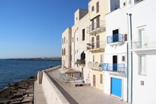 Old Fortress And White Building Of Monopoli, Adriatic Coast, Italy