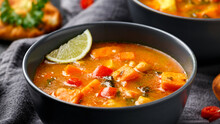 Curry Soup With Sweet Potato, Kale, Chickpea, Red Pepper And Chicken