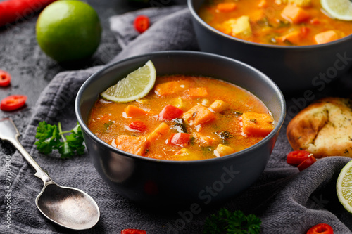 Fototapeta Curry soup with sweet potato, kale, chickpea, red pepper and chicken obraz