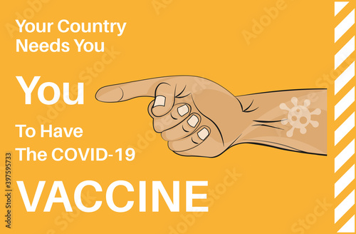 Fotomural Your country needs you to have the covid-19 vacccine - Vector Illustration on an