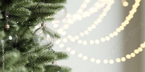 Fototapeta Close up Christmas tree and decoration, Glass Christmas ball. 3d rendering obraz