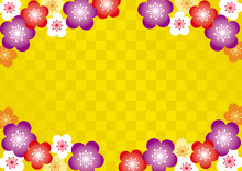 市松模様と梅の花の和風背景 金色 A3横