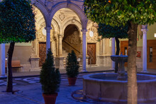 Details Of The Jabalquinto Palace At Night In Baeza, A World Heritage City