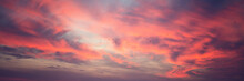 Bright Stunning Amazing Sunset Sky With Blurry Clouds And Flock Of Birds, Panorama Banner Format