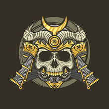 Illustration Of Samurai Skull With Helmet Detailed Vector Design