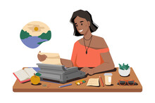 Woman Writes Story On Typewriter, Workplace, Writer Or Journalist Typing Article Or Post, Cup Of Tea Or Coffee, Books And Pens On Table. Vector Afro American Correspondent Dreaming About Rest