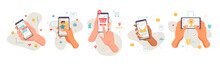 Smartphones Screens Showing Applications, Isolated Set Of Icons Of Hands With Mobile Phones. Shopping And Social Media, Networks And Games. Entertainment And Chatting Online, Vector In Flat Style