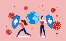 Coronavirus Covid19 Infection Prevention And Protection Concept Vector Illustration. Cartoon People In Protective Masks Holding Shields, Shielding Globe Planet Earth From Corona Virus Cells Attacks